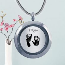 Circular Glass Double-Sided Hand and Foot Print Pendant - Baby Handprints and Footprints Keepsake